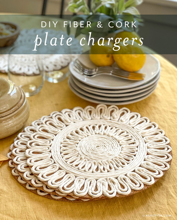 DIY fiber and cork plate chargers