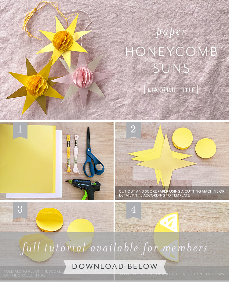 paper honeycomb suns photo tutorial by Lia Griffith