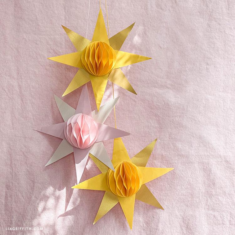 paper honeycomb sun decorations