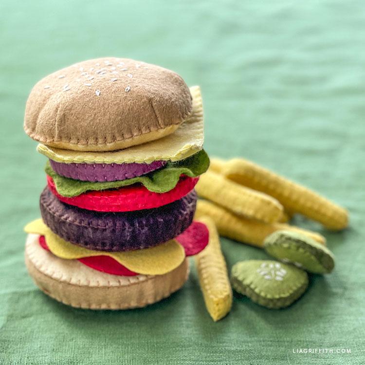 felt burger and fries