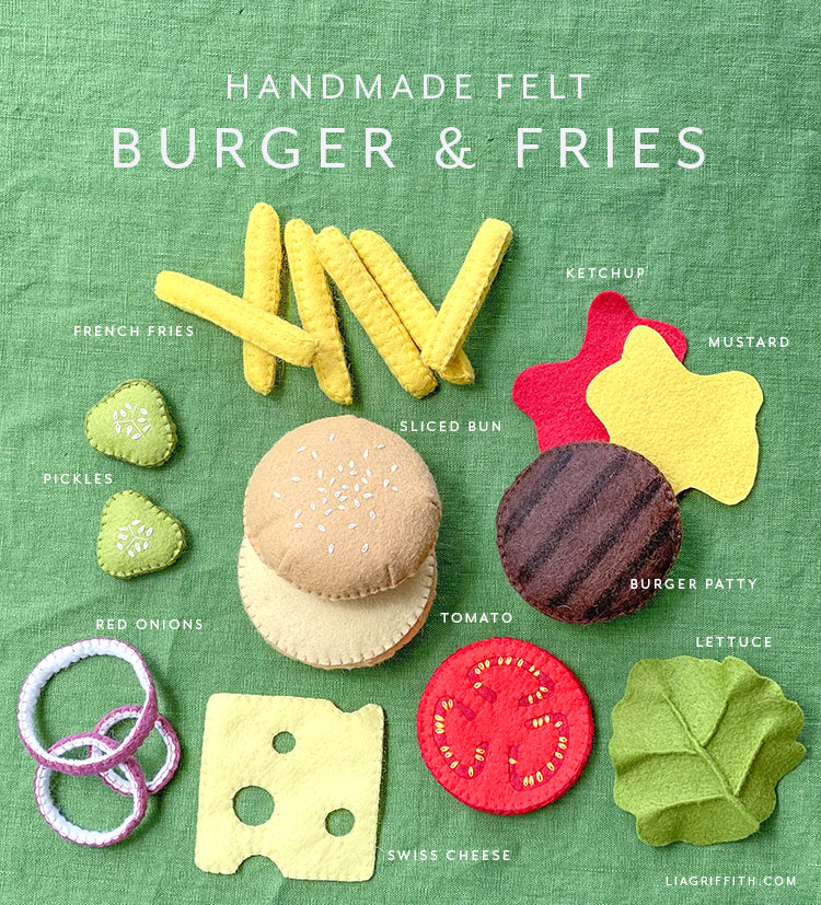 handmade felt burger and fries with felt toppings and condiments