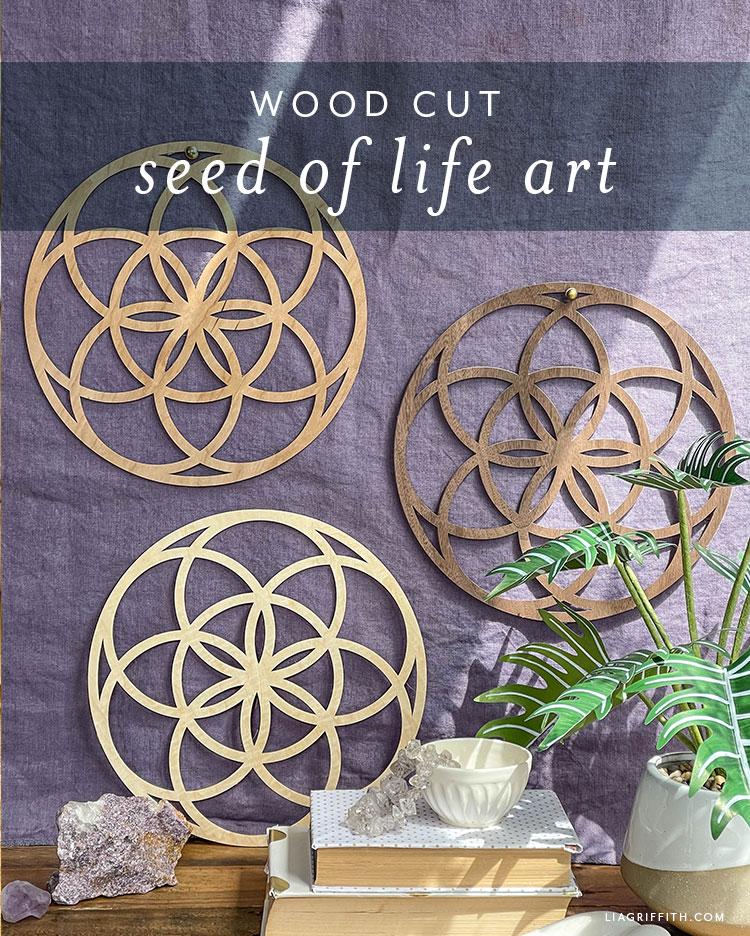 wood cut seed of life art