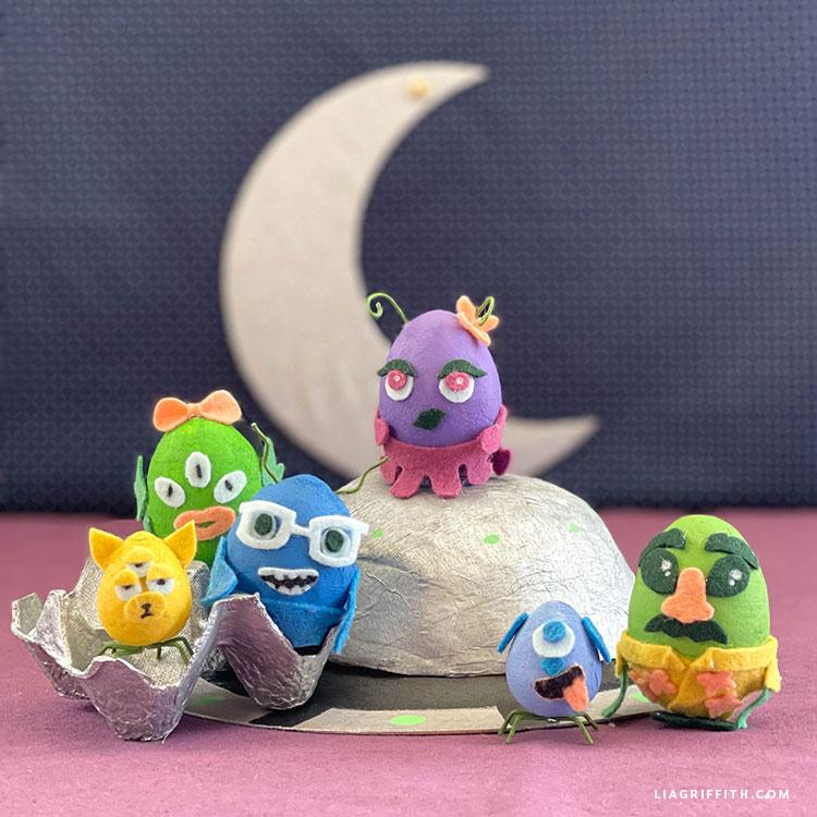 spun cotton egg and felt alien dolls for kids