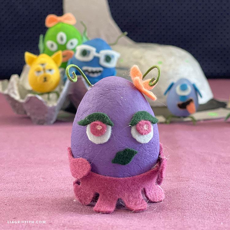 spun cotton egg and felt alien dolls
