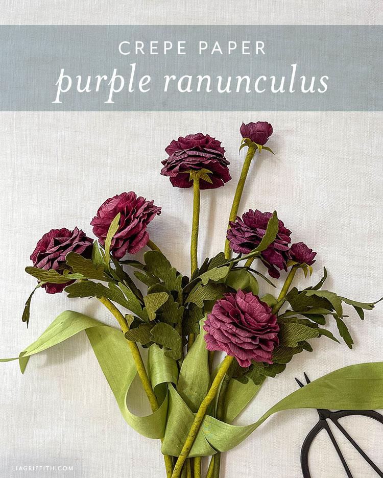 crepe paper purple ranunculus