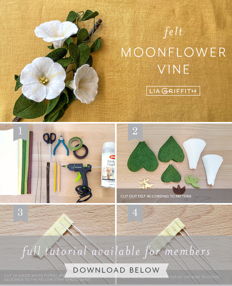 felt moonflower vine tutorial by Lia Griffith