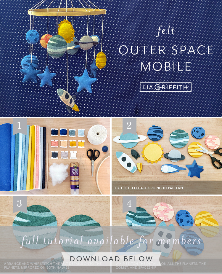 DIY felt outer space mobile by Lia Griffith