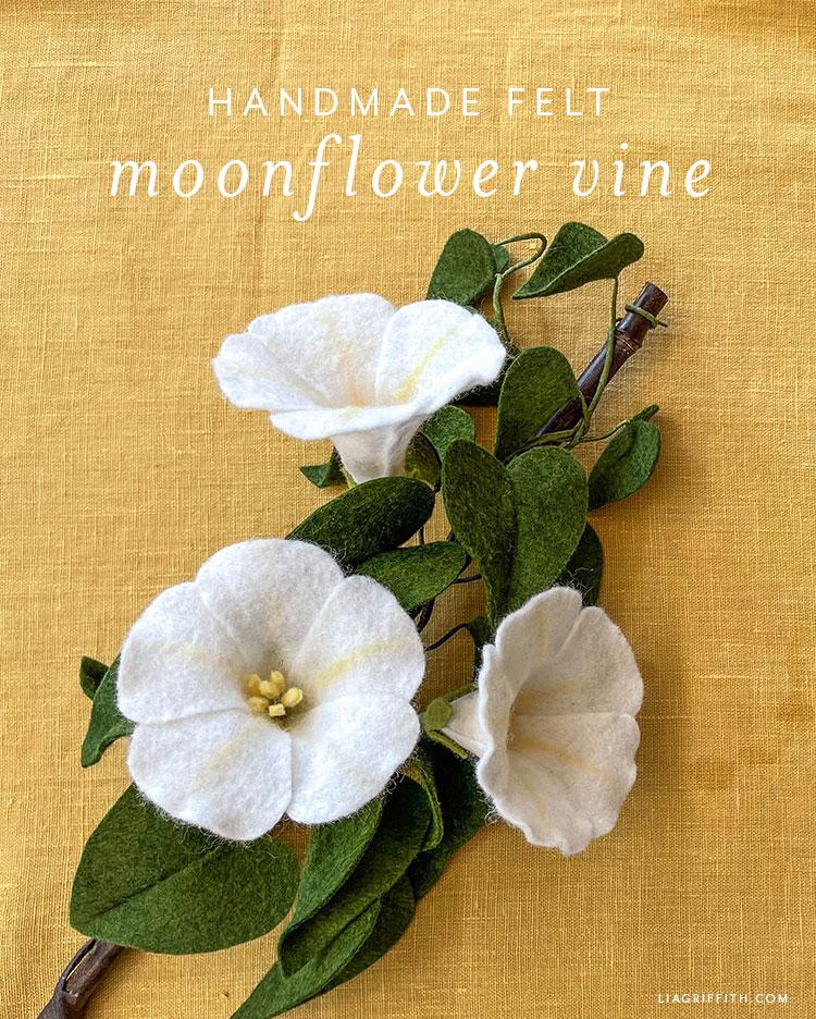 handmade felt moonflower vine