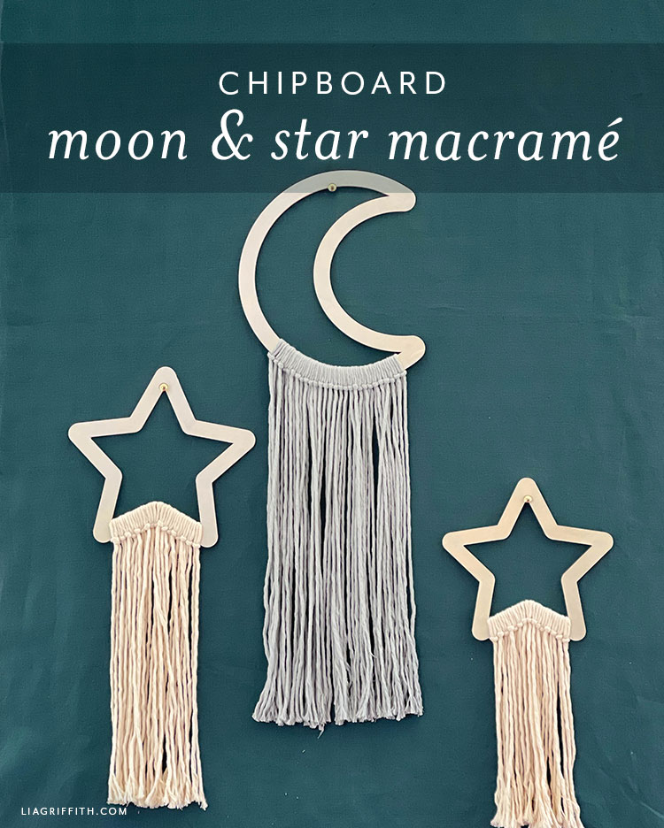 chipboard moon and star macrame