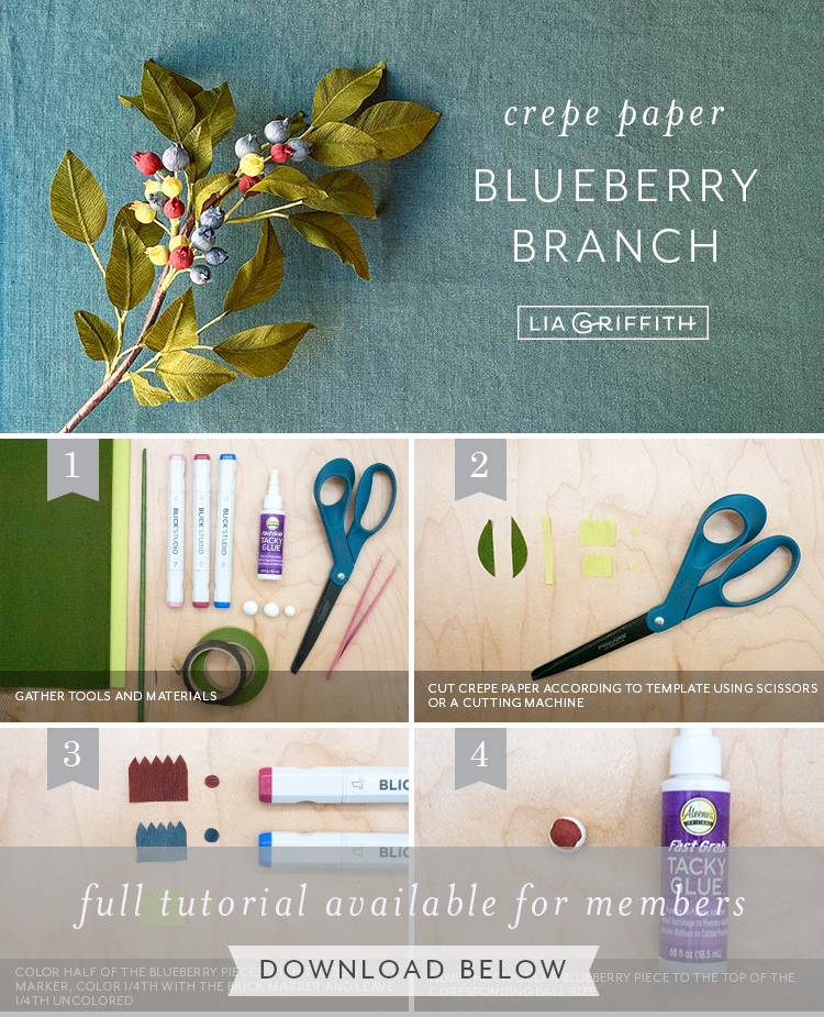 crepe paper blueberry branch tutorial by Lia Griffith