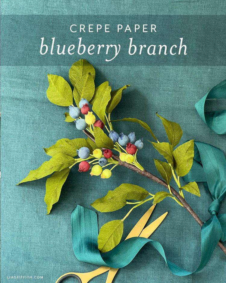 crepe paper blueberry branch