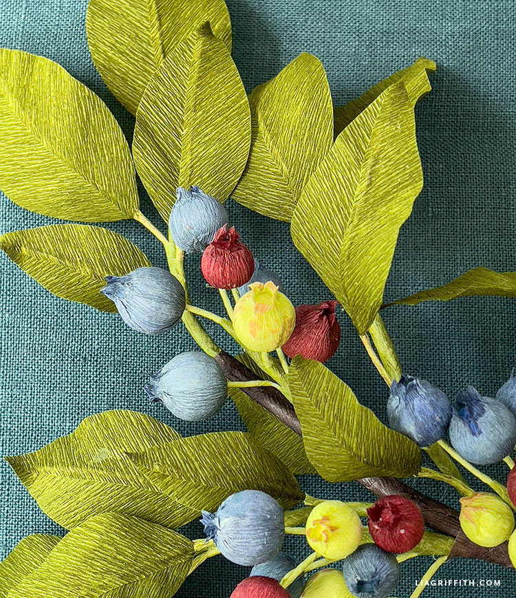 Crepe Paper Blueberry Branch 3