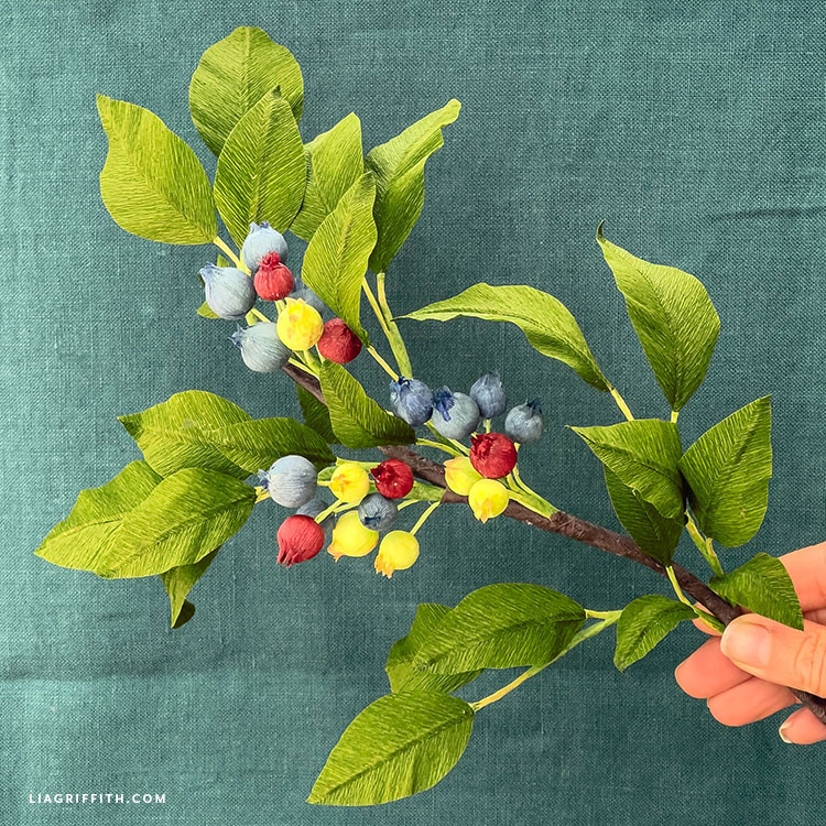 DIY crepe paper blueberry branch