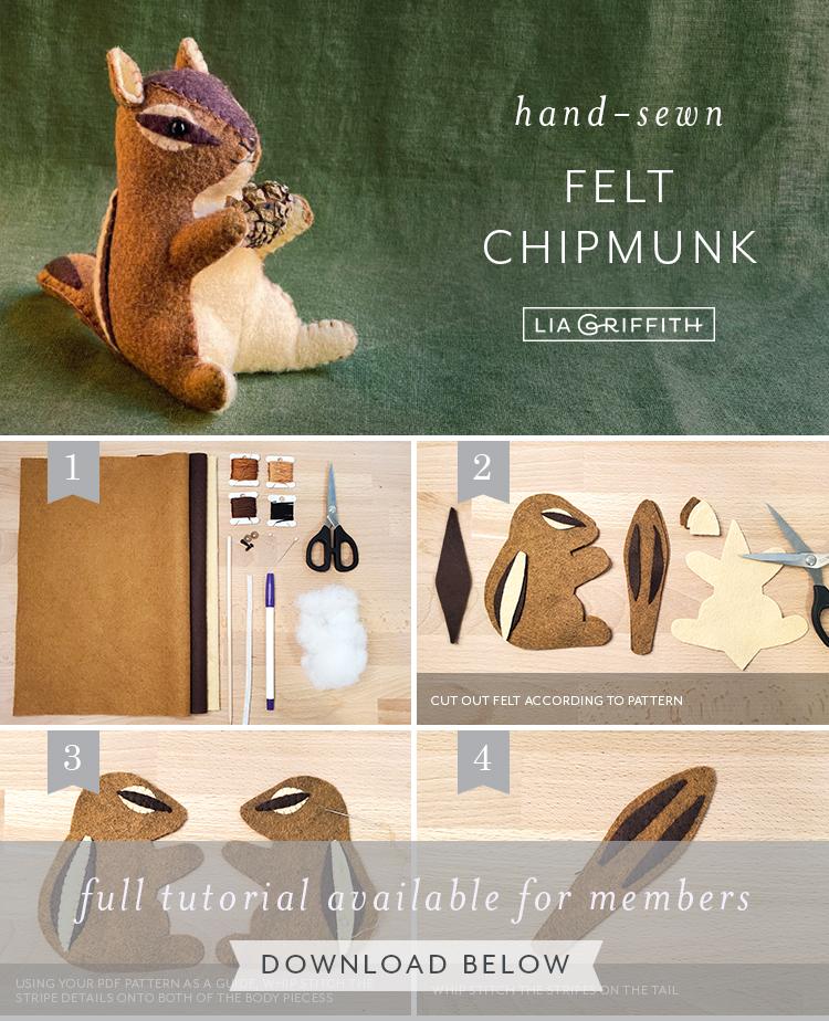 hand-sewn felt chipmunk tutorial by Lia Griffith