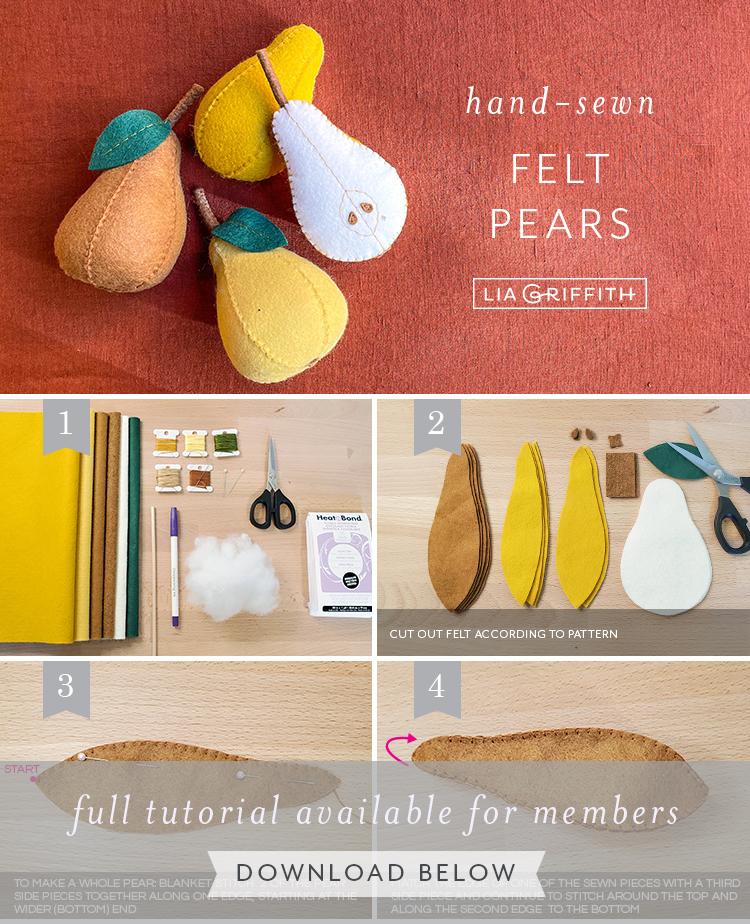 hand-sewn felt pears tutorial by Lia Griffith