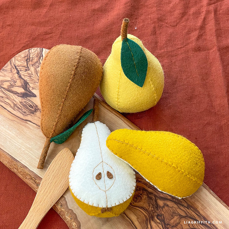 handstitched felt pears