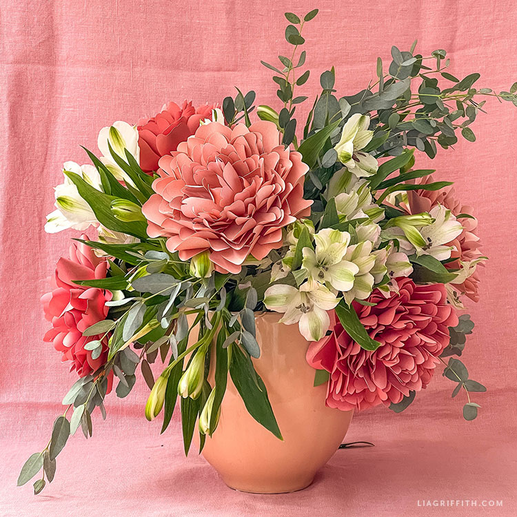 frosted paper Lorelei peony with real flowers and greenery for bouquet