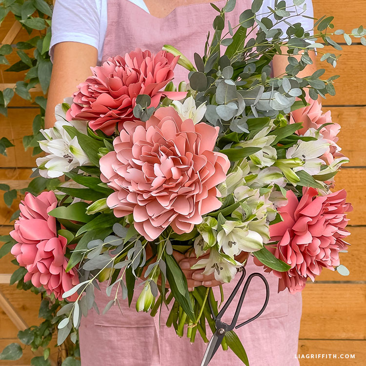 frosted paper Lorelei peonies with fresh flowers and greenery