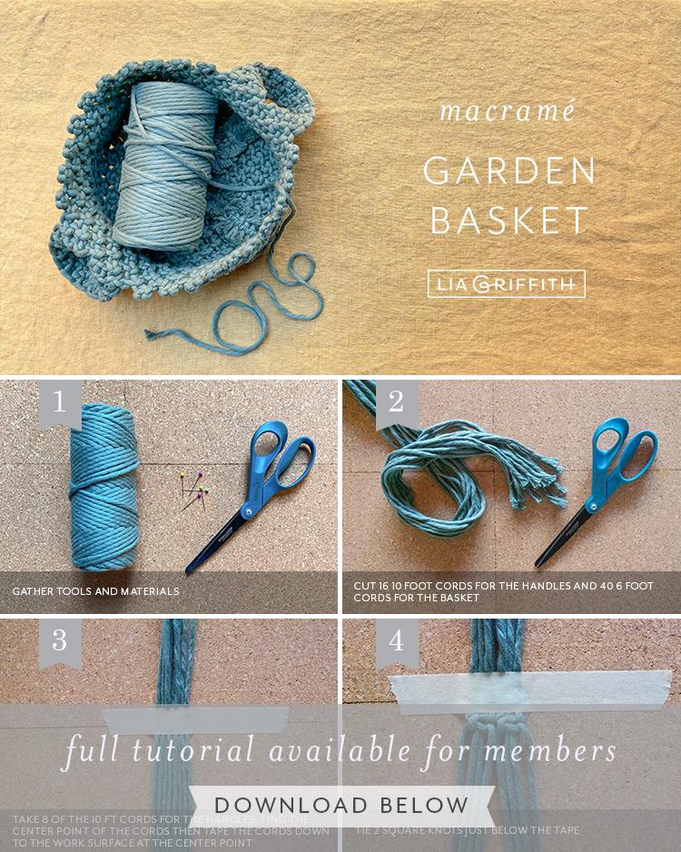 macrame garden basket tutorial by Lia Griffith