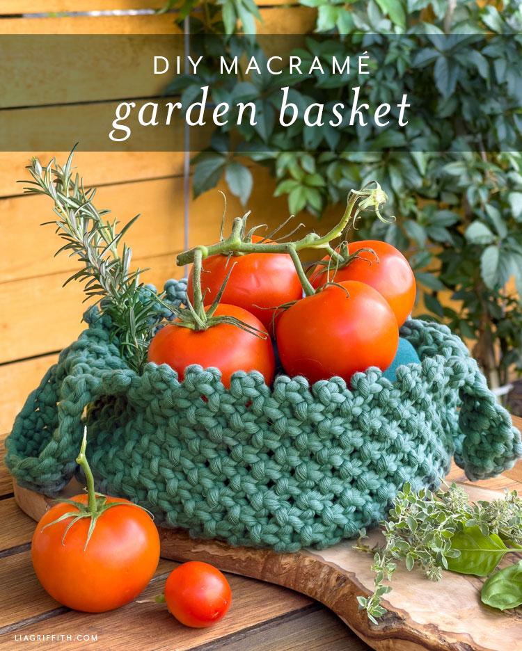 DIY macrame garden basket