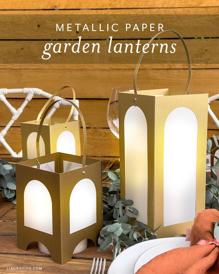 metallic paper garden lanterns
