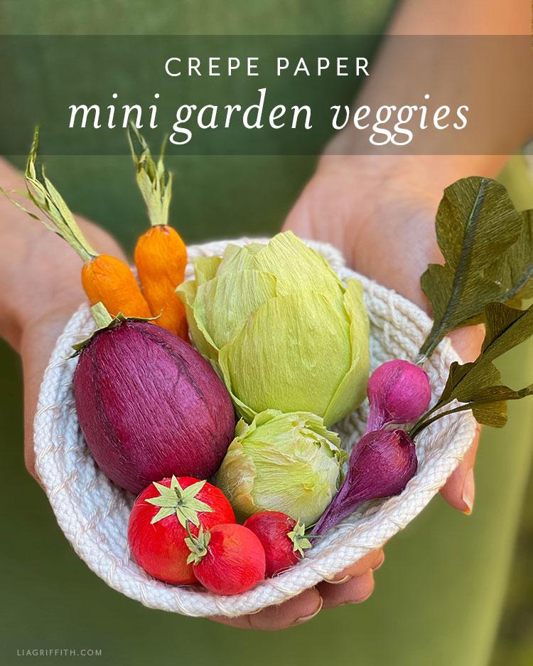 crepe paper mini garden veggies