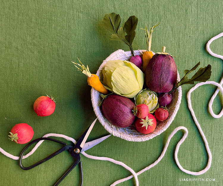 DIY crepe paper mini vegetables