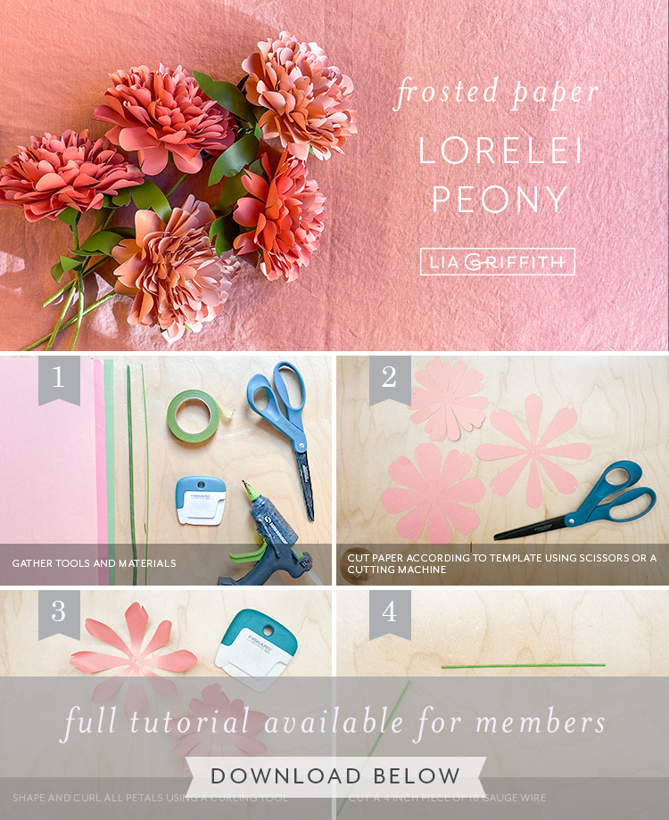 frosted paper Lorelei peony tutorial by Lia Griffith