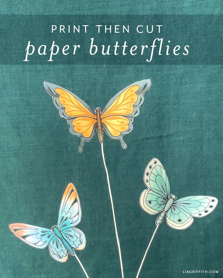 print then cut paper butterflies