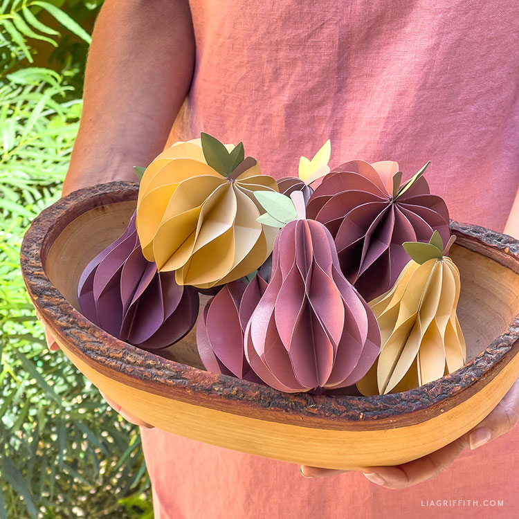 handmade paper apples and pears