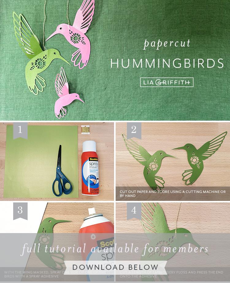 papercut hummingbirds tutorial by Lia Griffith