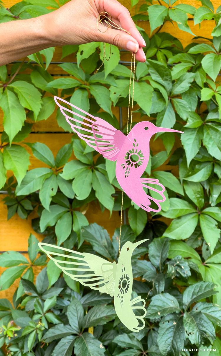 handmade paper hummingbirds