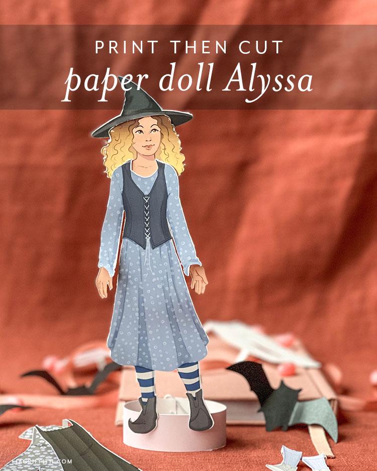 print then cut paper doll Alyssa