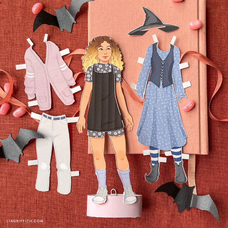 paper doll for fall and Halloween