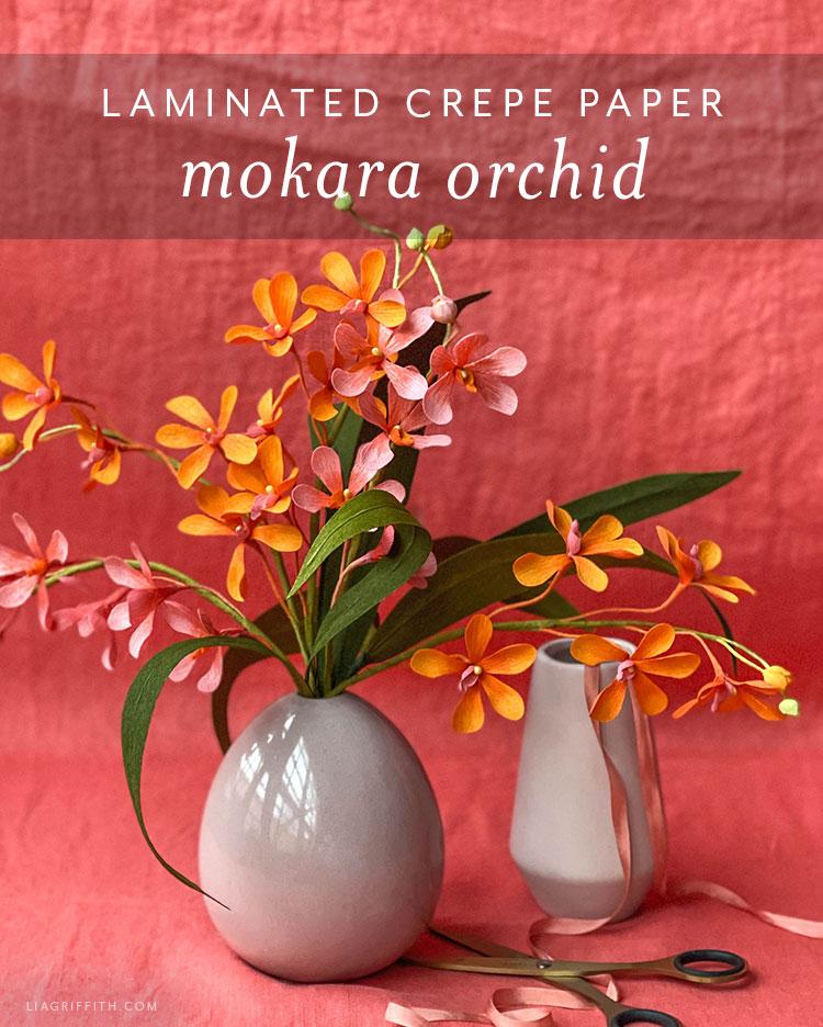 laminated crepe paper mokara orchid