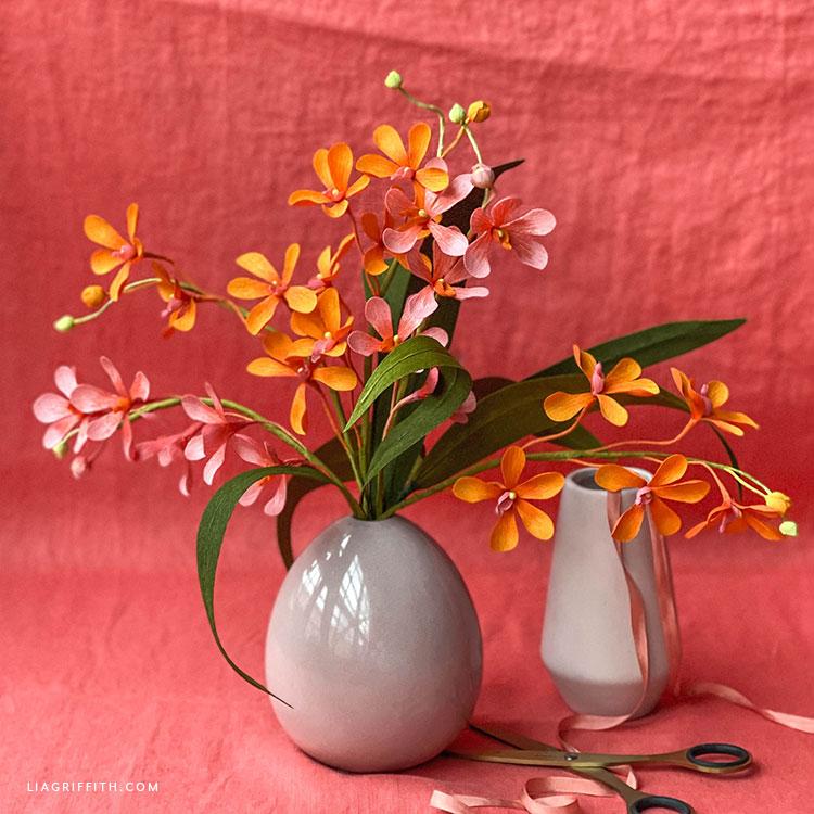 DIY crepe paper mokara orchid