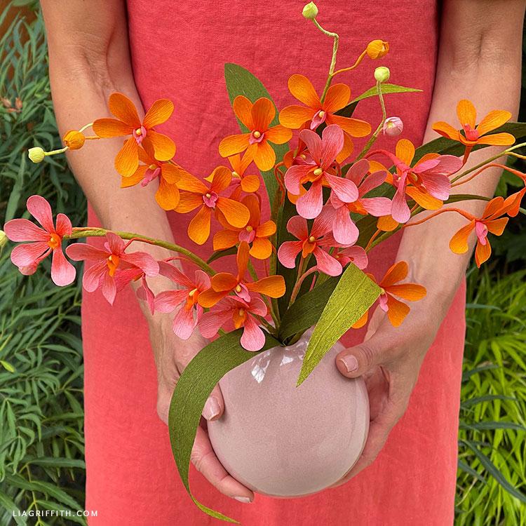 crepe paper mokara orchid bouquet