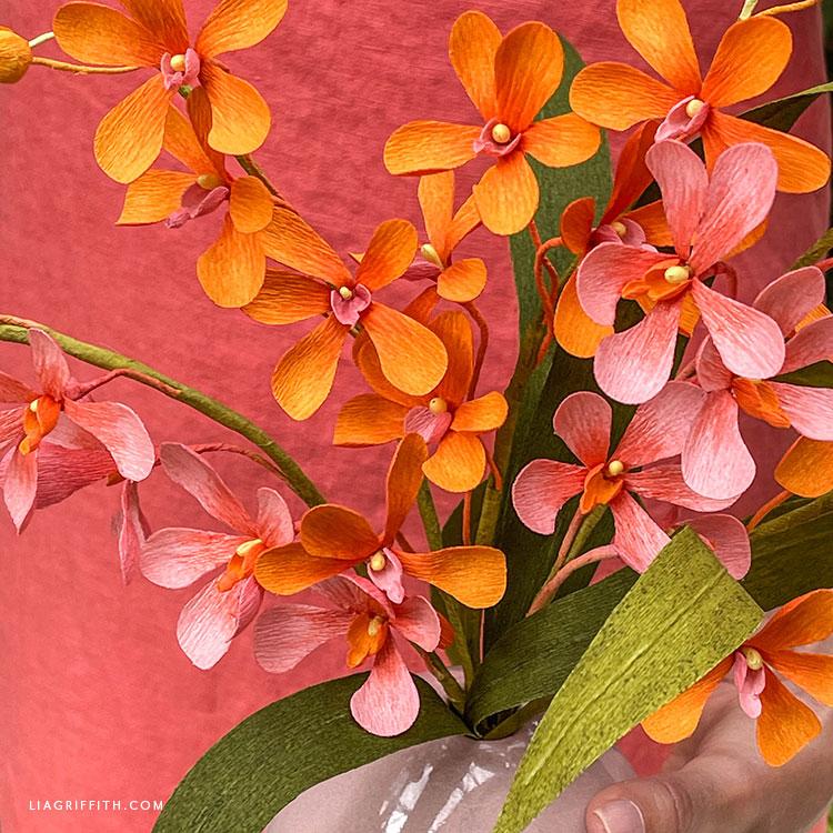 handmade crepe paper mokara orchid