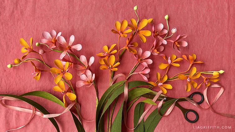 crepe paper mokara orchid flowers
