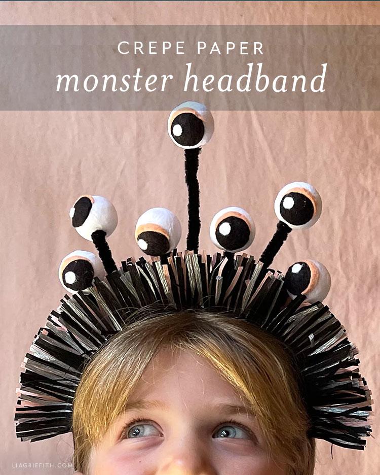 crepe paper monster headband