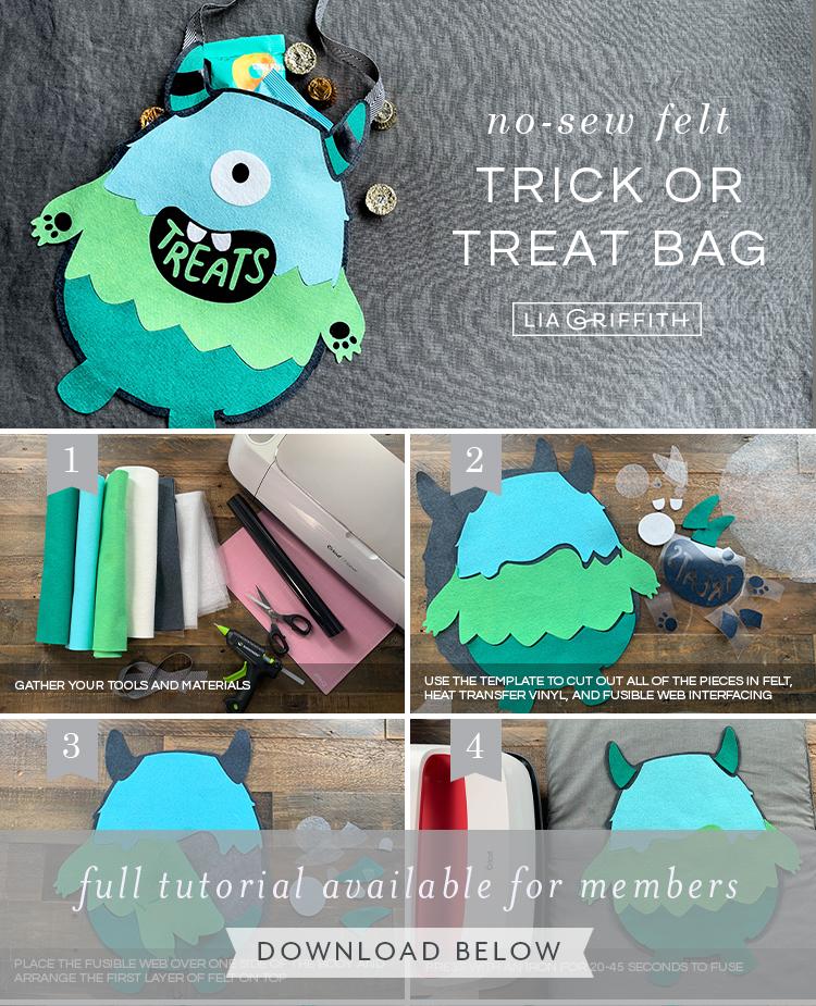 no-sew felt trick or treat bag tutorial by Lia Griffith