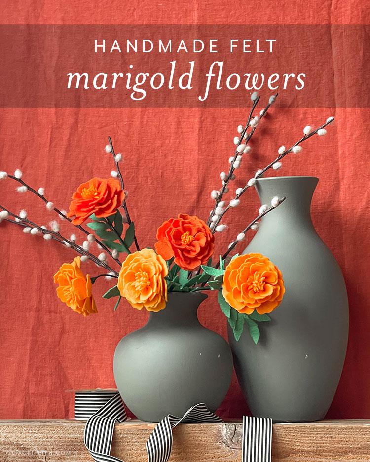 handmade felt marigold flowers