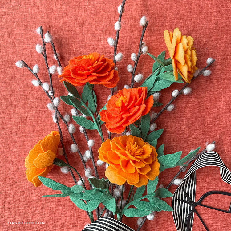 felt marigold flowers with DIY pussywillow branches