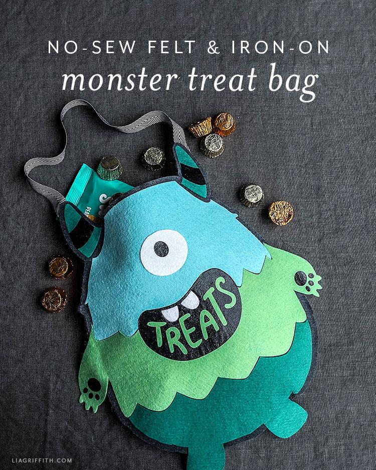 no-sew felt and iron-on monster treat bag