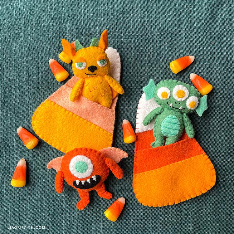 felt monsters and felt candy corn pockets