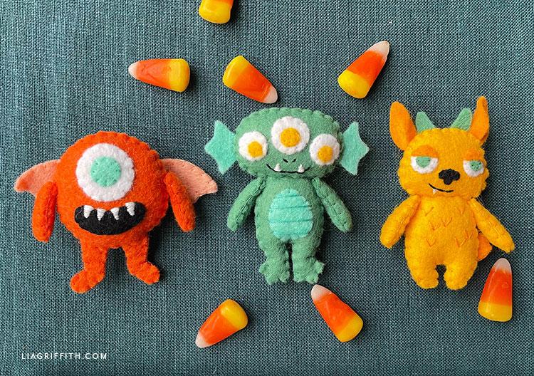 felt monsters for Halloween