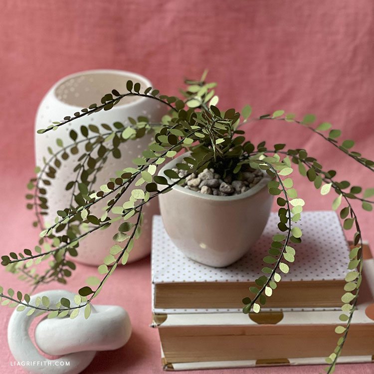 DIY frosted paper button fern and handmade clay knot