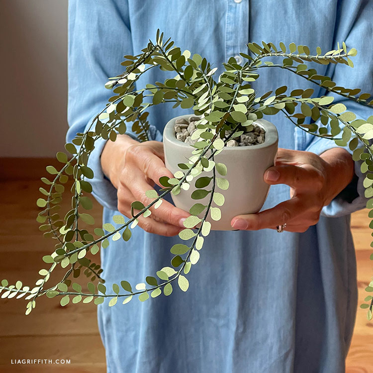 handmade frosted paper button fern