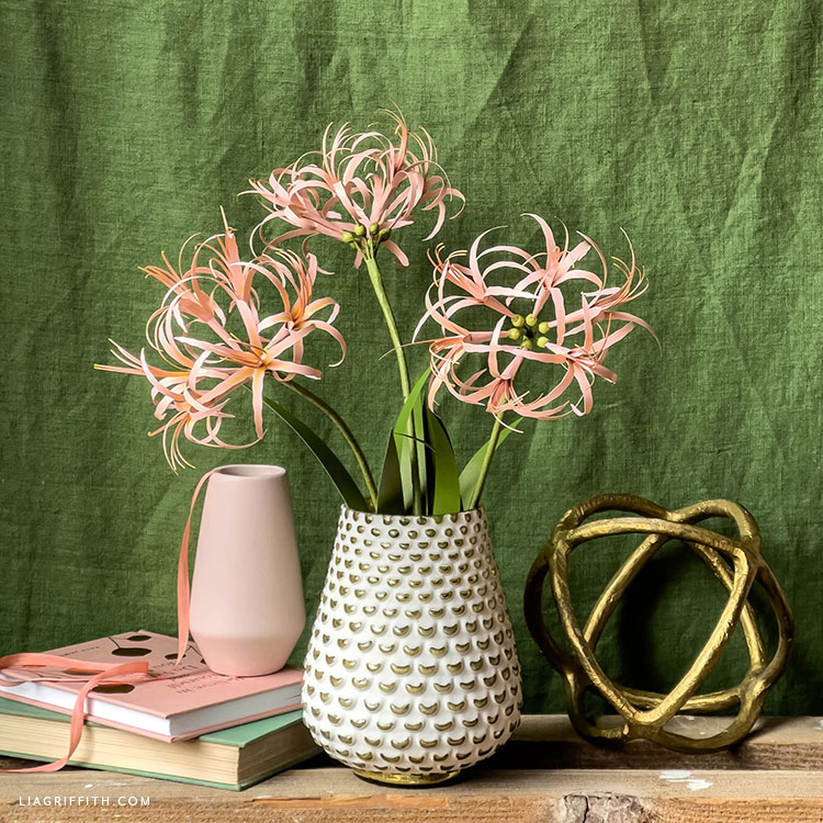 frosted paper spider lily bouquet