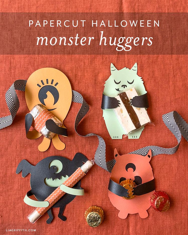 papercut Halloween monster huggers